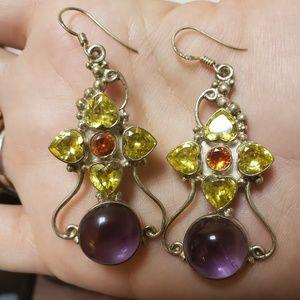 Sterling silver amethyst and gemstone earrings